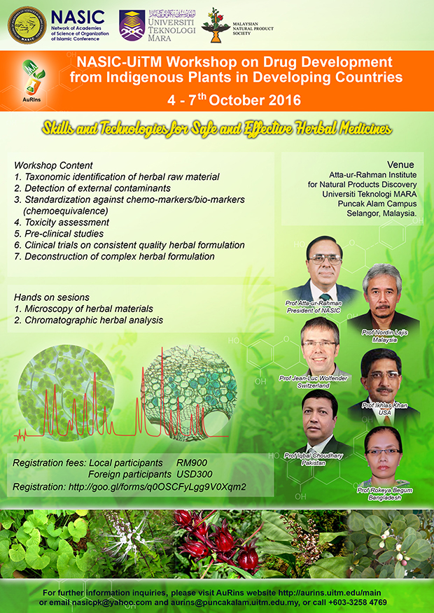 NASIC-UiTM Workshop on Drug Development from Indigenous Plants in Developing Countries